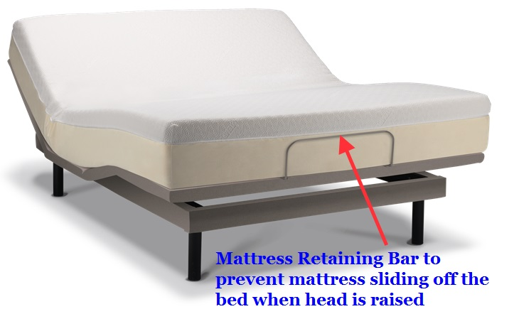Mattress retainer bar on adjustable bed