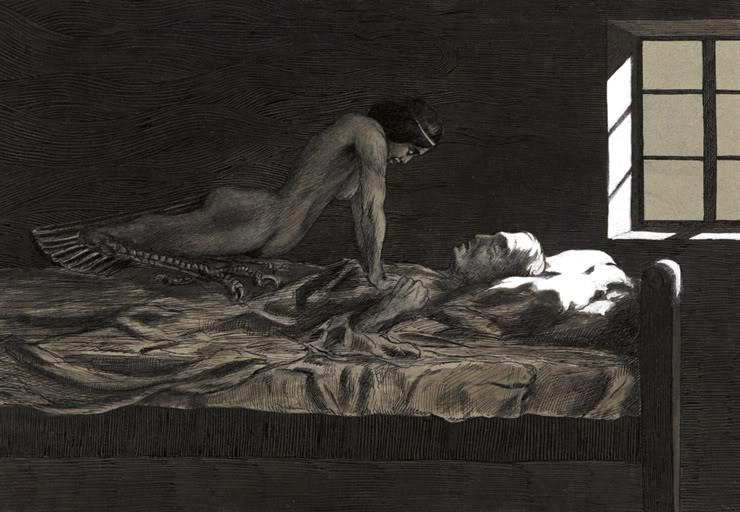 ( Fritz Schwimbeck's - My Dream, My Bad Dream - 1915 - Sleep Paralysis - Incubus Effect - Image Courtesy of en.wikipedia.org )